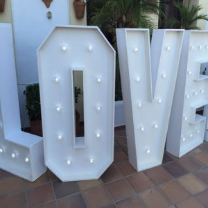 led love letters hire marbella